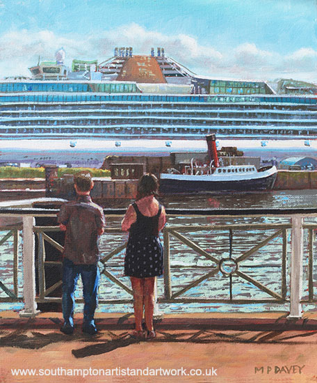 people_at_southampton_eastern_docks_viewing_ship acrylic painting