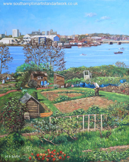 Allotments at Southampton beside River Itchen oil painting
