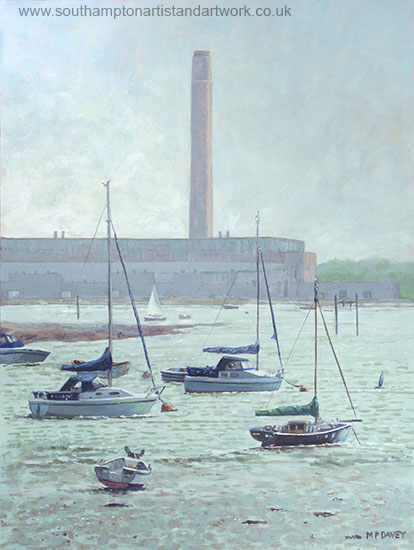 southampton_boats at Fawley with power station acrylic painting