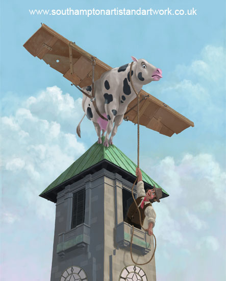 southampton_civic_centre_cow_flight digital painting