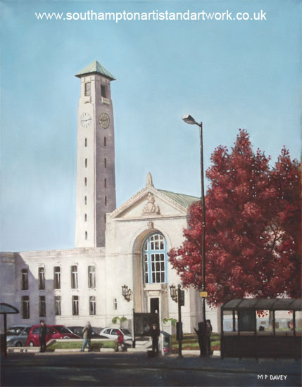 southampton_civic_centre oil painting