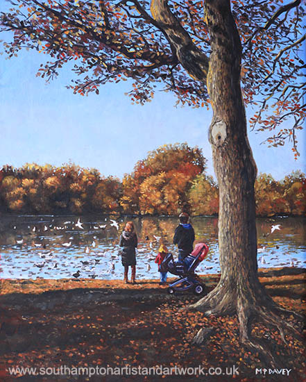 feeding_the_ducks_at_southampton_common oil painting