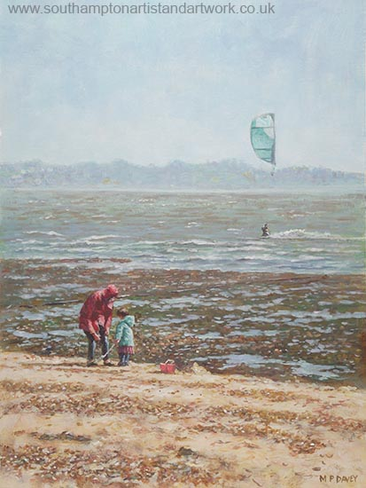 winter day at lepe beach painting