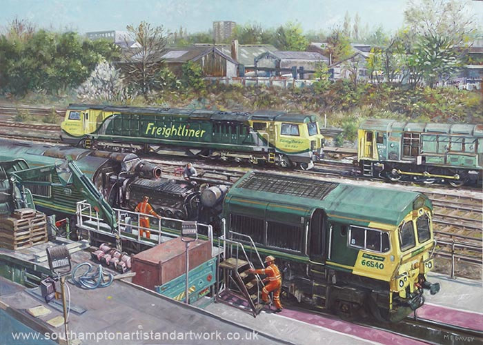 Southampton Freightliner Train Maintenance oil painting