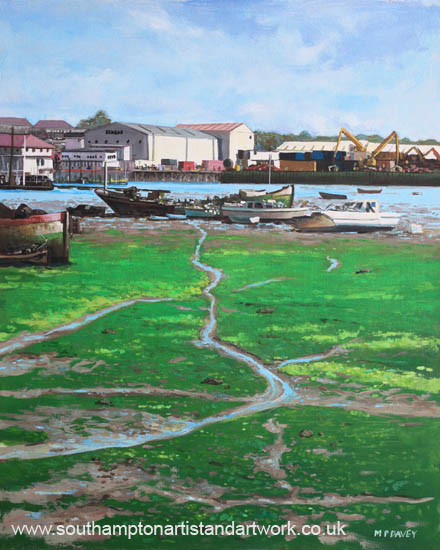 southampton_northam_boat_yards_and_old_boats acrylic painting