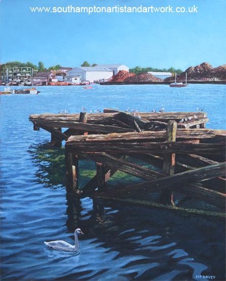 southampton_northam_river_itchen_old_jetty_with_sea_birds oil painting