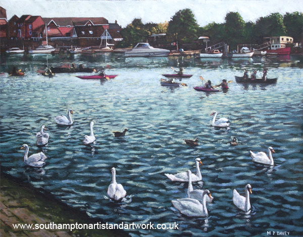 southampton_riverside_park boats swans acrylic painting