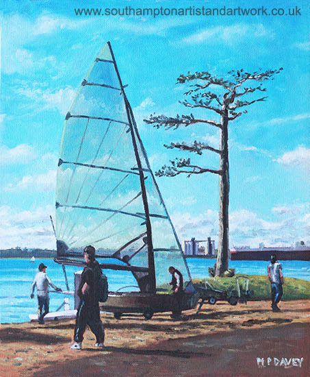 Sailing at Weston Shore-Southampton Water oil painting