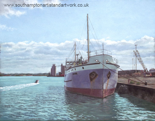 southampton_ship_shieldhall at docks painting