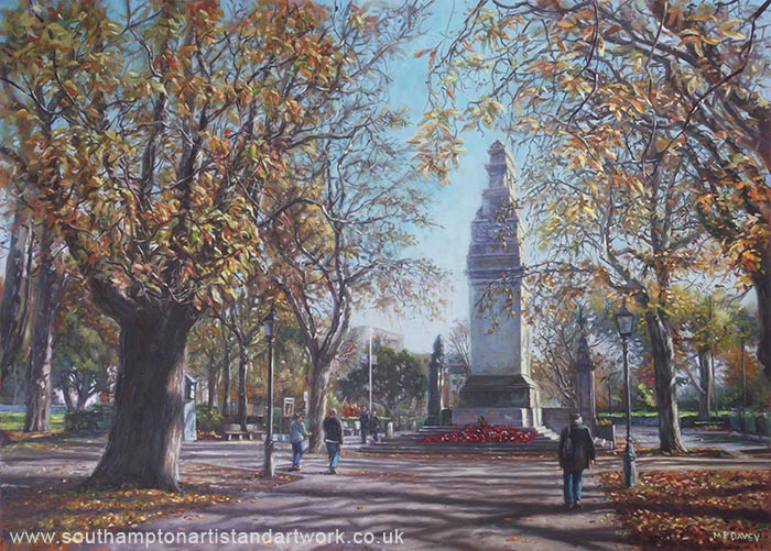 Southampton Cenotaph Autumn oil painting