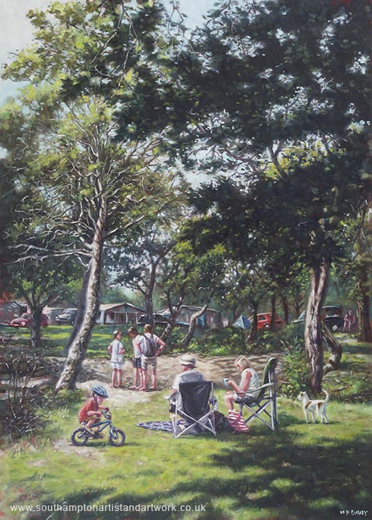 Summer New Forest Picnic oil painting