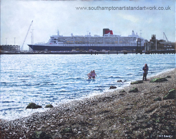 SA_southampton_weston_shore_queen_mary_in_port oil painting